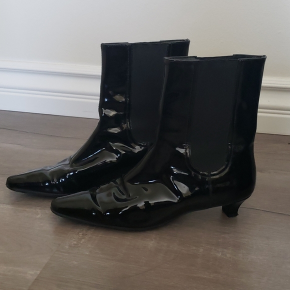 Black Patent Leather Low Heel Boots